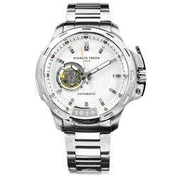 GIORGIO FEDON 1919 自動兼手動上鍊機械錶不鏽鋼手錶-銀色/46mm
