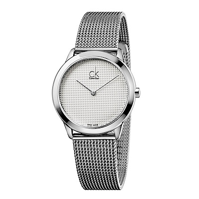 CK CALVIN KLEIN Minimal 系列立體錶盤設計米蘭帶手錶-40mm