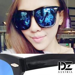 DZ 時髦橫菱釘 抗UV太陽眼鏡 墨鏡(冰藍膜)