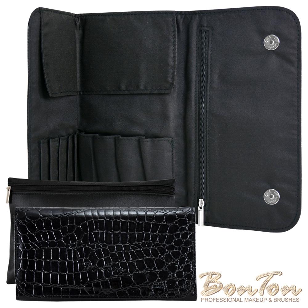 BonTon 9支時尚鱷紋雙磁釦刷具包 搖滾黑