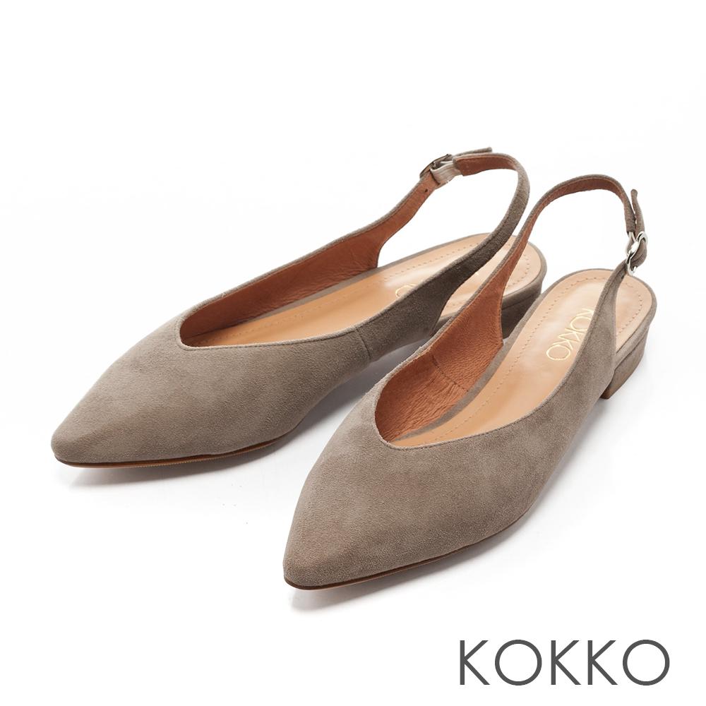 KOKKO -午後時光後拉帶尖頭平底鞋-簡約灰