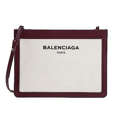 Balenciaga NAVY 黑色字母拼皮帆布包 (酒紅邊米白)