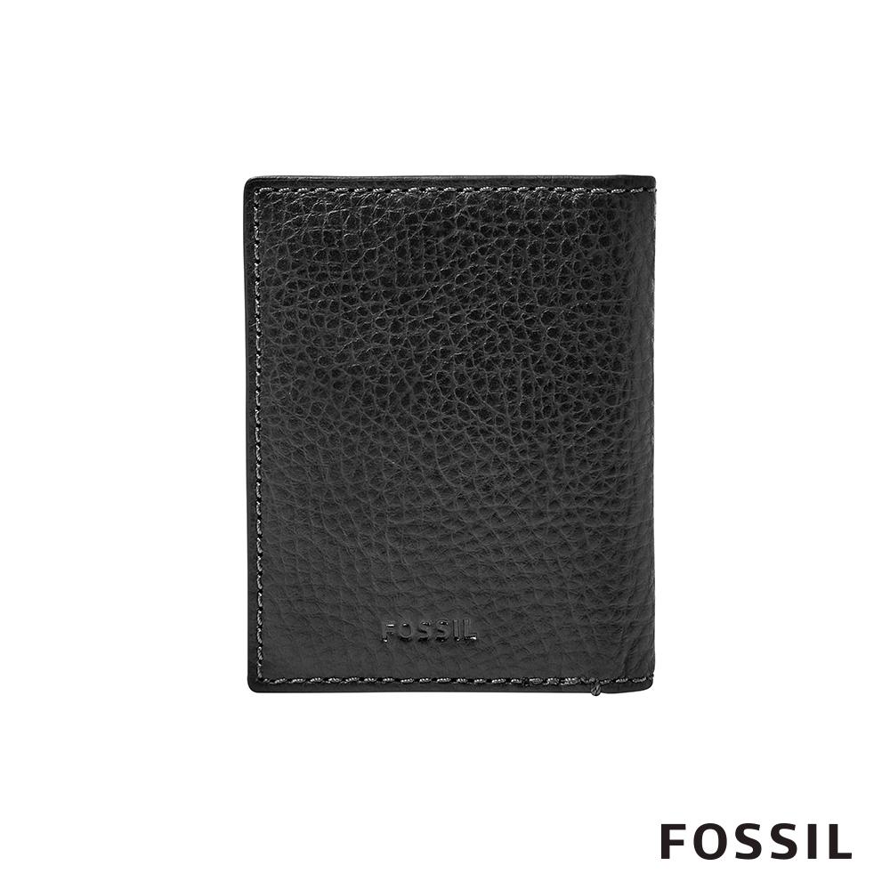FOSSIL RICHARD極致簡約真皮名片夾-黑色