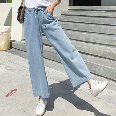 素面鬆緊高腰牛仔闊腿褲 (藍色)-Kugi Girl