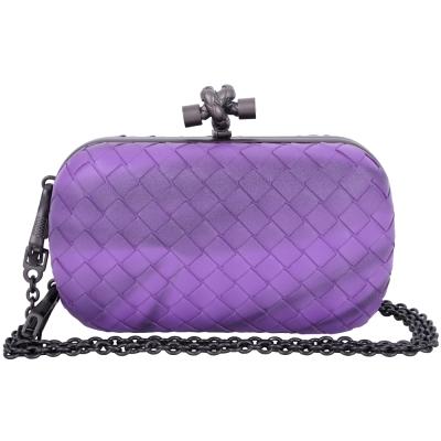 BOTTEGA VENETA KNOT 刷色編織手拿鍊帶包(紫色)