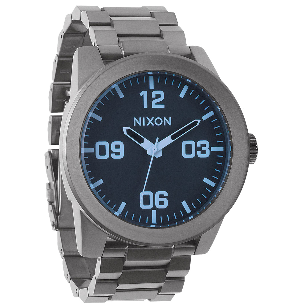 NIXON The CORPORAL SS 曠野風潮時尚運動腕錶-灰藍/48mm