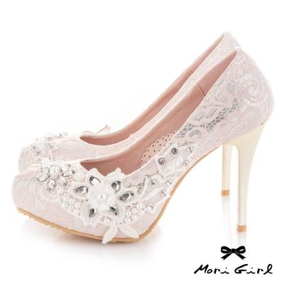 Mori girl 手工縫製水鑽珍珠蕾絲高跟婚鞋 粉