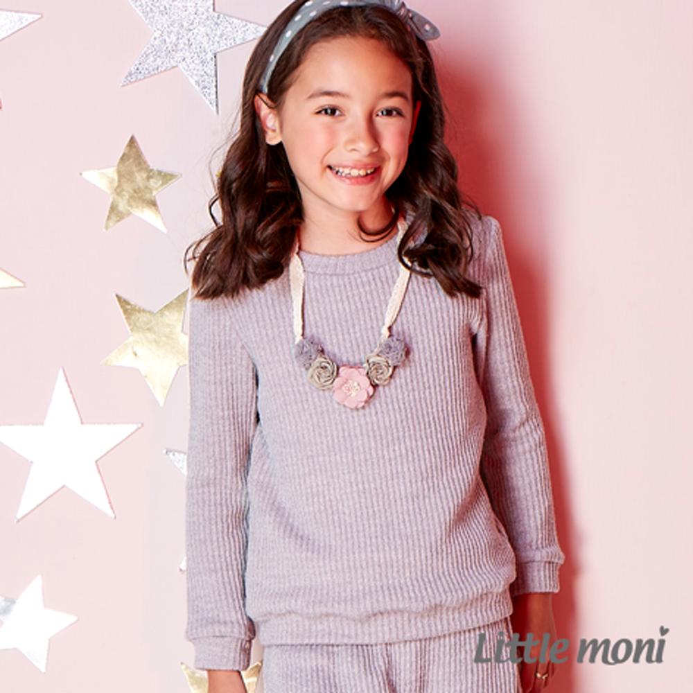 Little moni 愛心補丁袖羅紋上衣 (共2色)
