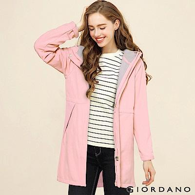 GIORDANO 女裝保暖搖粒絨內裡中長版連帽外套 - 36 雪花薄纱粉红