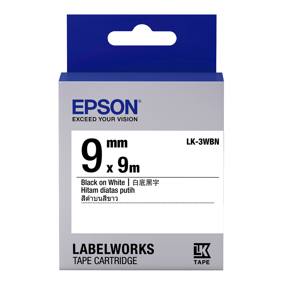 EPSON C53S653401 LK-3WBN一般系列白底黑字標籤帶(寬度9mm)