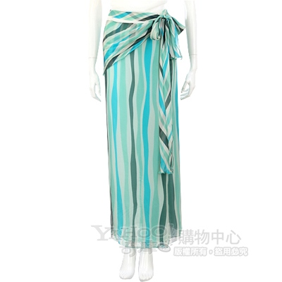 GENNY 綠色條紋紗質綁帶長裙