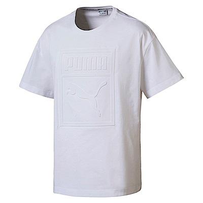 PUMA-男性流行系列浮雕Logo短袖T恤-白色-亞規