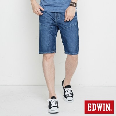 EDWIN 迦績褲JERSEYS剪接工作短褲-男-石洗綠