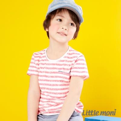 Little moni 亮彩條紋短袖棉T 淺珊瑚