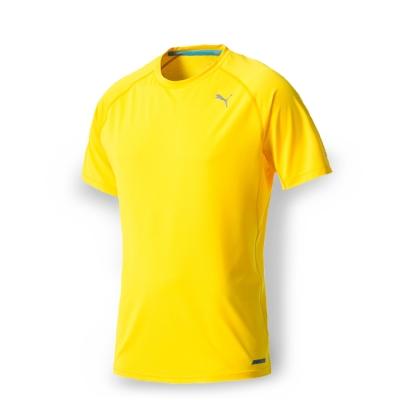 PUMA 男性慢跑系列PWRCOOL素色短袖T恤-艷黃