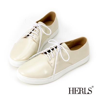 HERLS-百搭素面綁帶休閒鞋-米白色