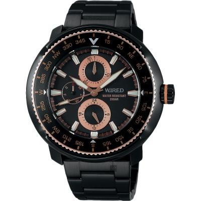 WIRED SOLIDITY 復古軍用200米限定手錶(AY8037X1)-鍍黑/44mm