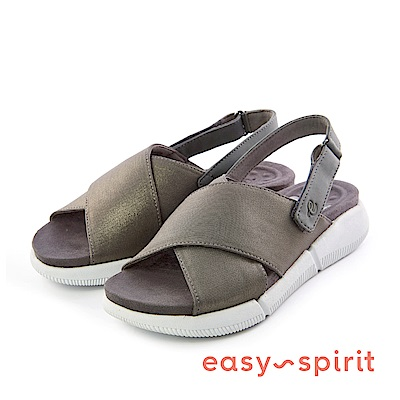 Easy Spirit--魚口厚底後拉帶式涼鞋-霧銀黑