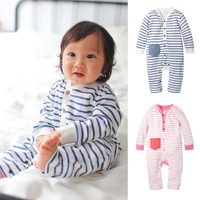 baby童衣 簡約條紋前開扣長袖連身衣 70031