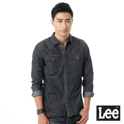 Lee 牛仔帥氣風格雙口袋刷色長袖襯衫-男款-深藍