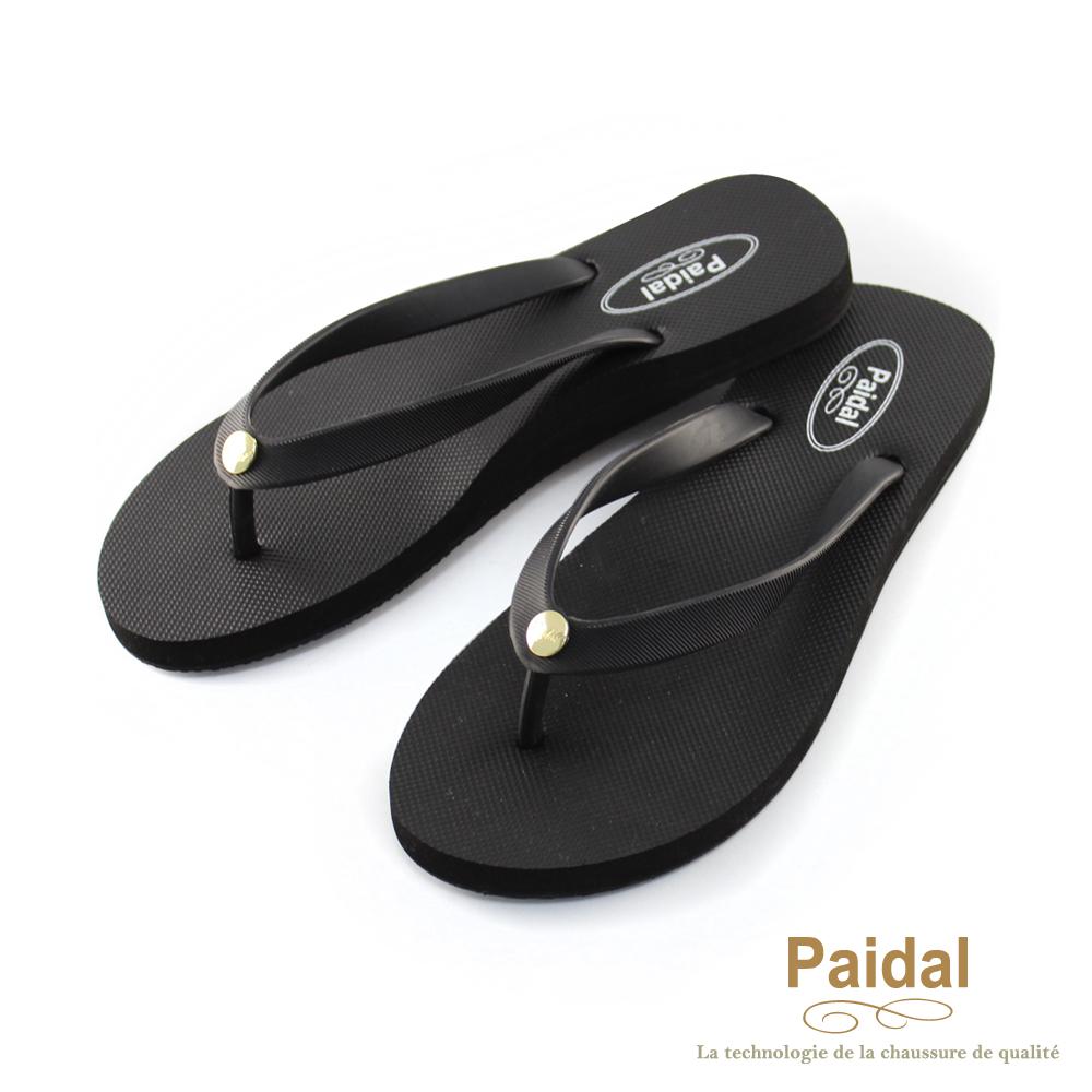 Paidal 素色女足弓款海灘拖鞋夾腳拖鞋-黑