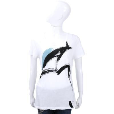 BURBERRY BRIT T-Shirt 筆觸印花白色短袖上衣
