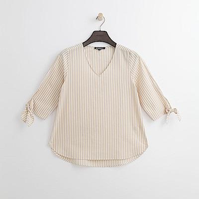 Hang Ten - 女裝 - V領袖綁結條紋襯衫-粉膚色