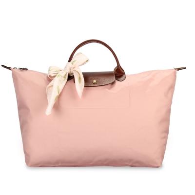Longchamp 折疊大型水餃包(短提把/玫瑰粉)-加贈帕巾