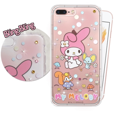 正版美樂蒂  iPhone 8 Plus/ 7 Plus 施華洛世奇 彩鑽氣墊保...