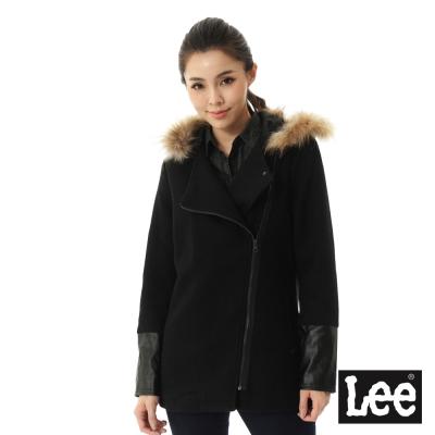 Lee 羊毛拼接連帽外套 -女款-黑色