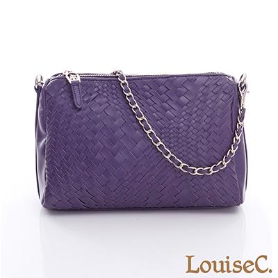 LouiseC. 優雅時尚手工羊皮編織鍊帶小包-紫色-05L05-0031A10
