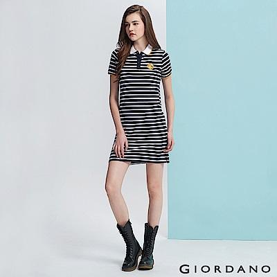 GIORDANO女裝馬頭立體刺繡彈力萊卡短袖POLO領連身裙-94 標誌海軍藍白