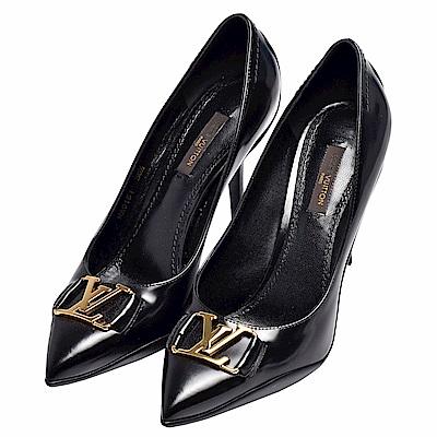 LV 經典CANDICE系列金屬牌LOGO小牛皮尖頭高跟鞋(黑)