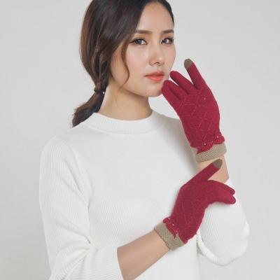 Seoul-Show-男女仿羊絨保暖針織觸控手套-女款酒紅