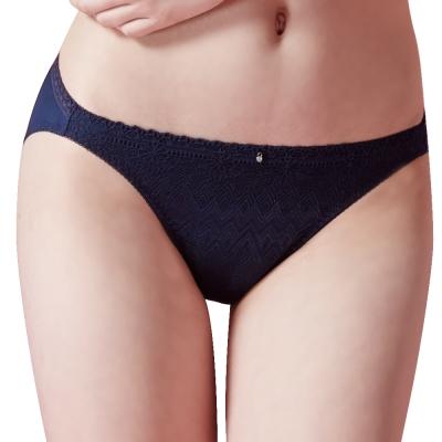 思薇爾 幾何密碼系列M-XXL蕾絲低腰三角內褲(紳士藍)