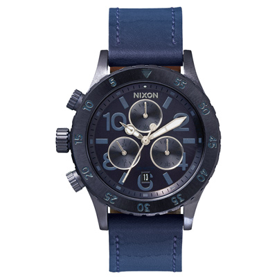 NIXON 38-20 CHRONO 潮流重擊運動腕錶-鐵藍x漸層皮帶/38mm