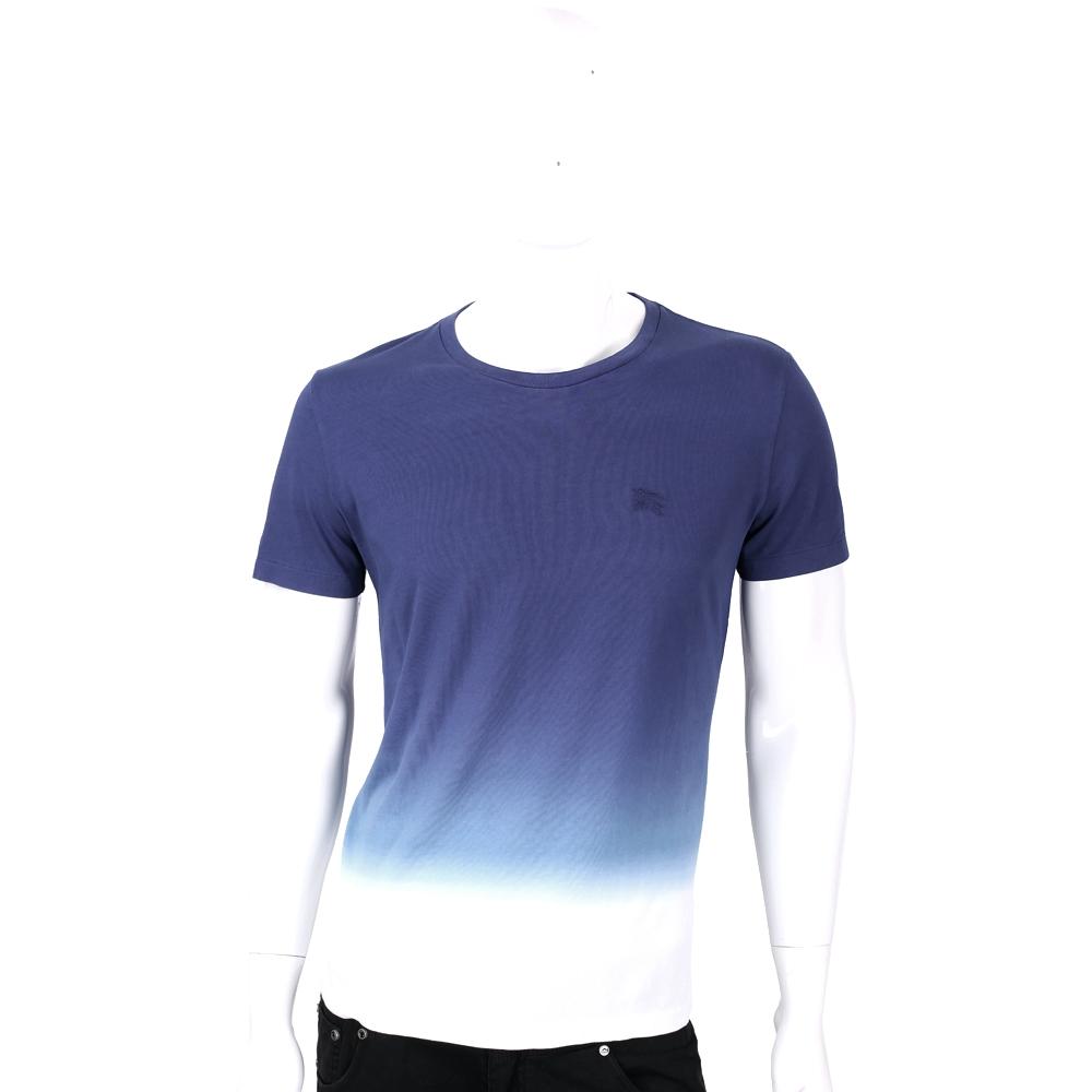 BURBERRY藍色漸層經典刺繡LOGO棉質短袖T恤