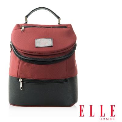 福利品 ELLE HOMME 法式精品可置入IPAD立體圓筒大容量側背包-暗紅