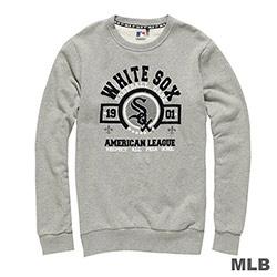 MLB-芝加哥白襪隊圓領植絨印花長袖厚T恤-麻灰(男)