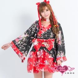 角色扮演 夏夜祭典 日系改良式和服表演服(黑紅F) AngelHoney天使霓裳