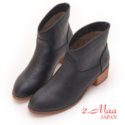 2.Maa - 素面刷色簡約造型短靴 - 黑
