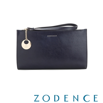 ZODENCE-義大利植鞣革系列雙拉鍊手拎斜背小包-藍