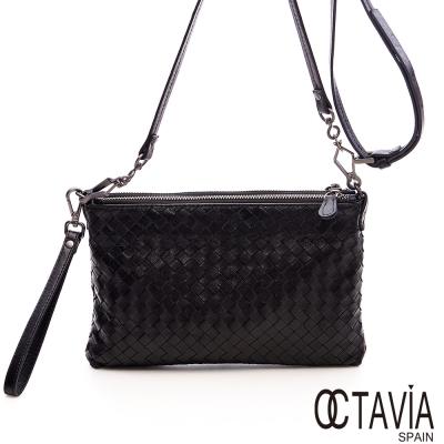 OCTAVIA 真皮 - 情有獨鐘 綿羊皮編織手拿肩背雙層BOSS包 - 經典黑
