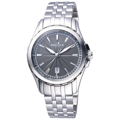 MORRIS K 探索城市不鏽鋼時尚腕錶-灰/36mm