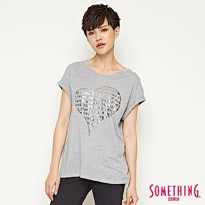 SOMETHING 心型五彩造型T恤-女-灰色