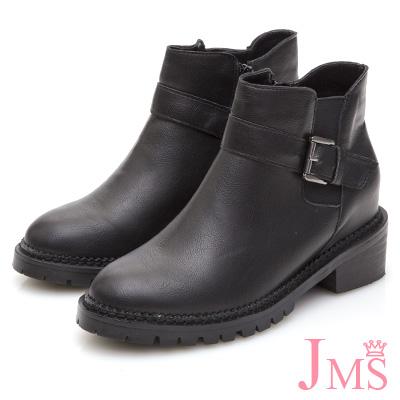 JMS-英式風格側鬆緊扣環內增高短靴-黑色