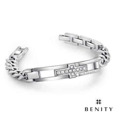 BENITY 十字星願 316白鋼/西德鋼 男手鍊 IP白K金 情侶對鍊款
