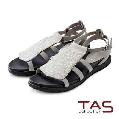 TAS 小水鑽排列寬版魚骨繫帶涼鞋-淺霧灰