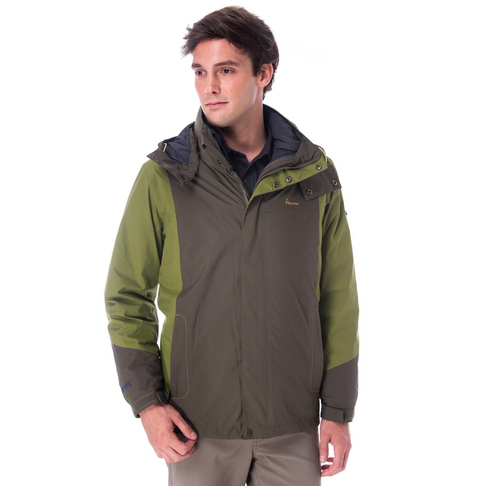 【hilltop山頂鳥】男款GoreTex兩件式防水羽絨拆袖短大衣F22MU0綠