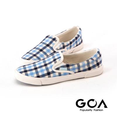 GOA可愛彩色格子休閒鞋-深淺藍格